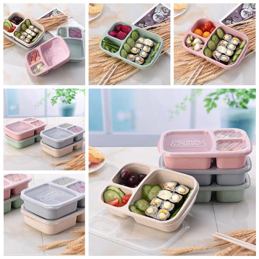 4styles Wheat Straw Lunch Box 3 Grid Fruit Bento Box Student Portable outdoor camping snack Food Storage Box Tableware Lunchbox FFA1089