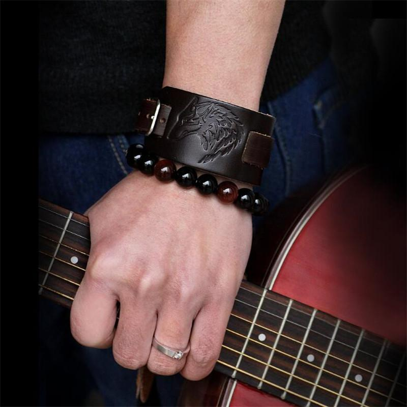 2019 neue punk echtes leder armband armband wolf adler leder stulpearmband schmuck für männer geschenk