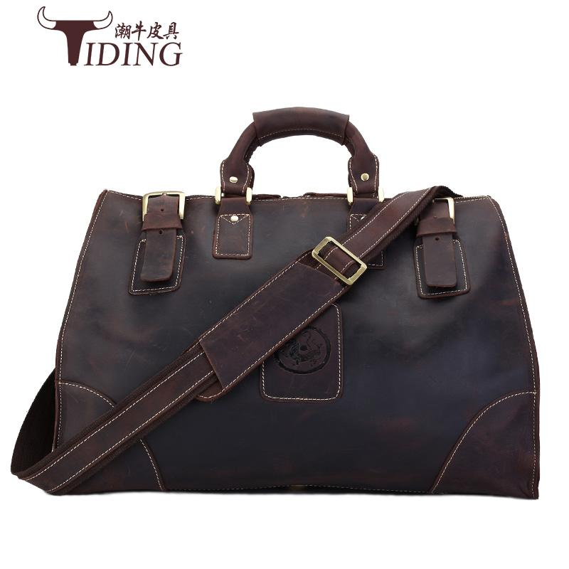 806bfd8ba05a Crazy Horse Man Bags Genuine Leather Vintage Retro Look Cow Leather Travel  Bag Men Duffle Bag Large Capacity Leather Travel Bag Bag Large Capacity  Duffle ...