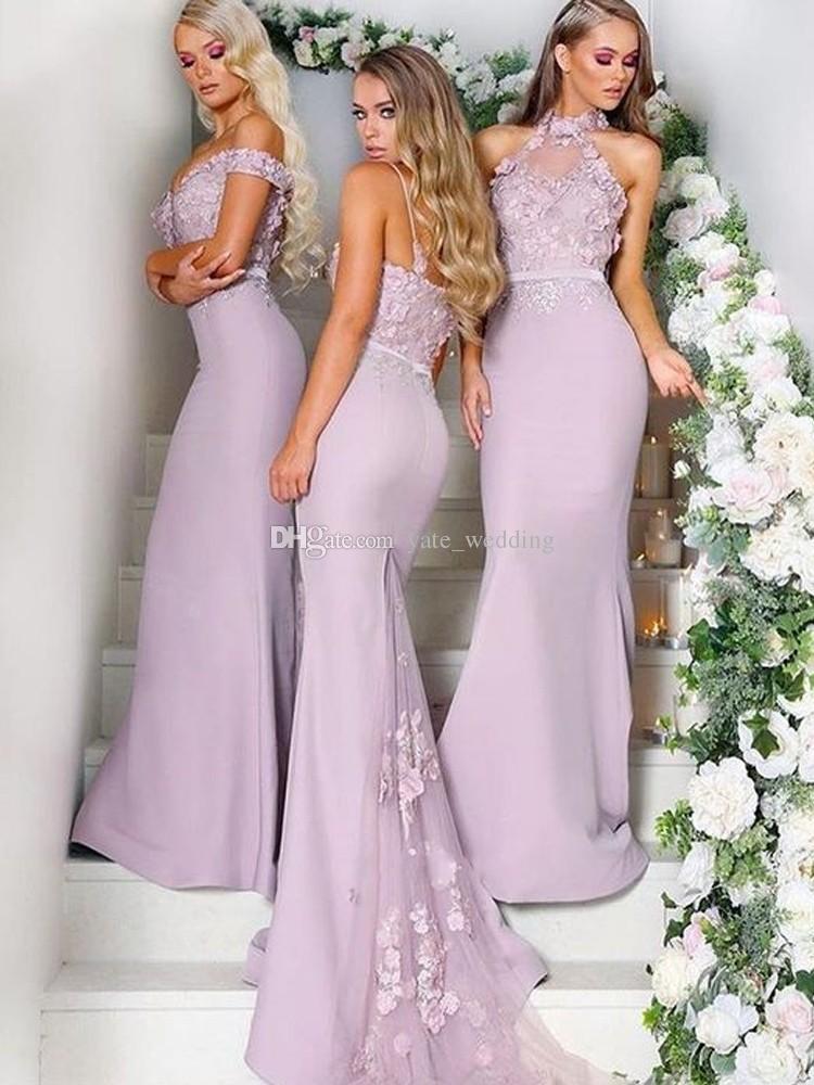 2019 robes de demoiselle d'honneur de sirène licou de l'épaule bretelles spaghetti appliques satin argent demoiselle d'honneur robes de mariée de mariage