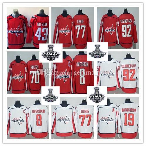 Washington Capital 2018 Stanley Cup Final Champions Jerseys Alex Ovechkin  T.J Oshie Nicklas Backstrom Evgeny Kuznetsov Braden Holtby Wilson Braden  Holtby ... 9b2a7e438a4