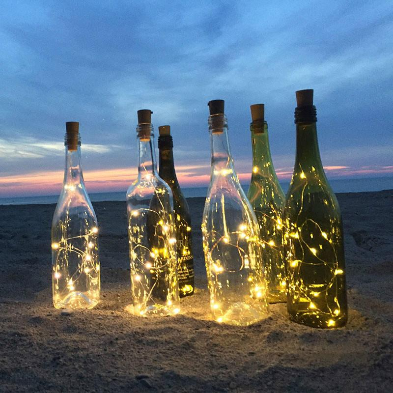 Cheap 2M 20Led Silver wire Glass Wine LED String Light Cork Shaped Wine Bottle Stopper Light Lamp Christmas Party Decoration
