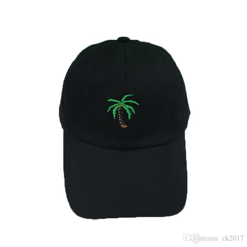 814aedb8395 New Coconut Tree Embroidery Black Baseball Cap Sports Cap High ...