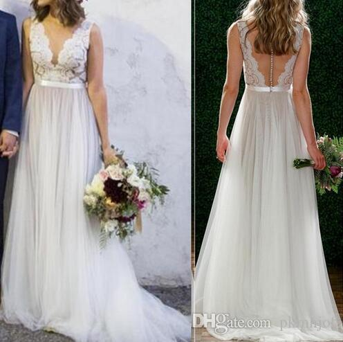 2019 New Lace Deep V Neck Backless Floor-Length Tulle Bridal Gowns Sleeveless Beach A-Line Wedding Dress With Sash
