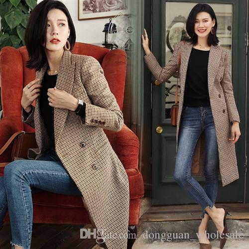 d764af73ca Compre Coreia Do Designer Nova Marca De Moda 2019 Mulheres Outono   Inverno  De Lã Clássico Xadrez Casaco Longo Casaco Femininos Casacos De ...