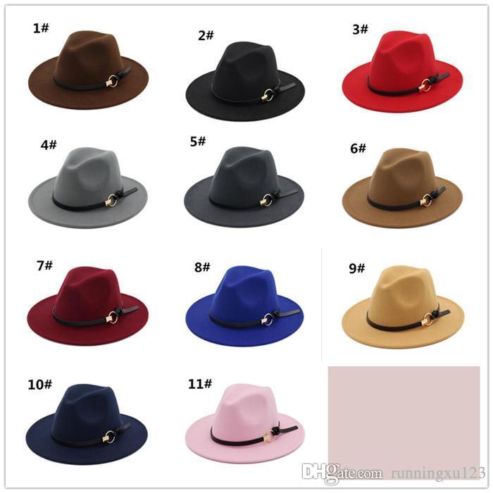 4612a9358fd957 Vintage Women Elegant Solid Felt Fedora Hat Band Wide Flat Brim Jazz ...