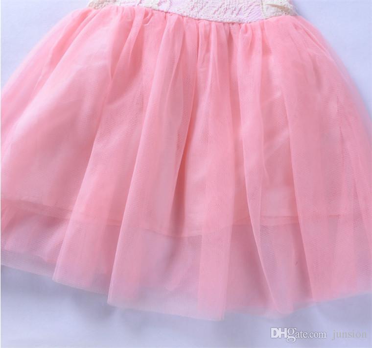 2018 más nuevos bebés vestidos de encaje de los niños de la boda vestidos de tutú niños ropa de fiesta Vestidos de fiesta de encaje lindo Envío rápido