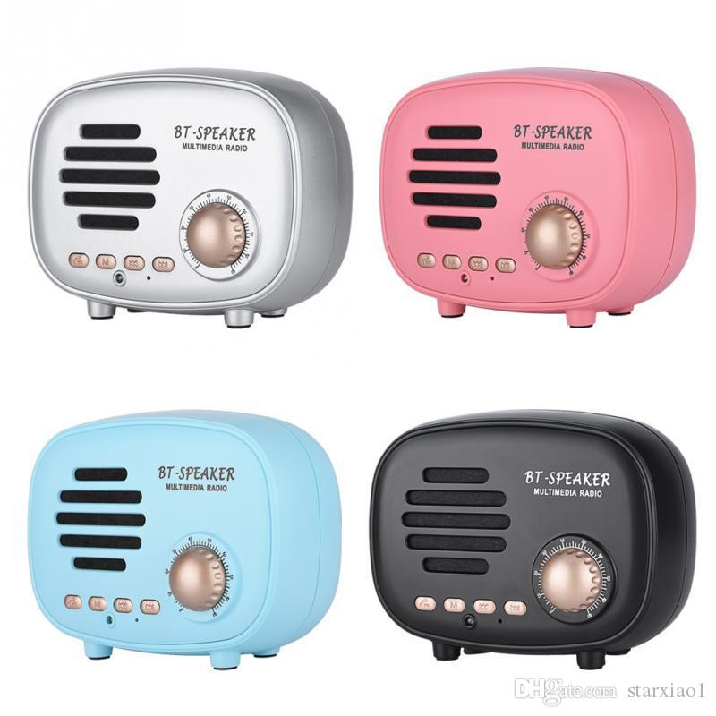Vintage Fashion Wireless Bluetooth Speaker Mini Portable Loudspeakers with FM Radio TF U Disk Hands Free Stereo Player for IPhone smartphone