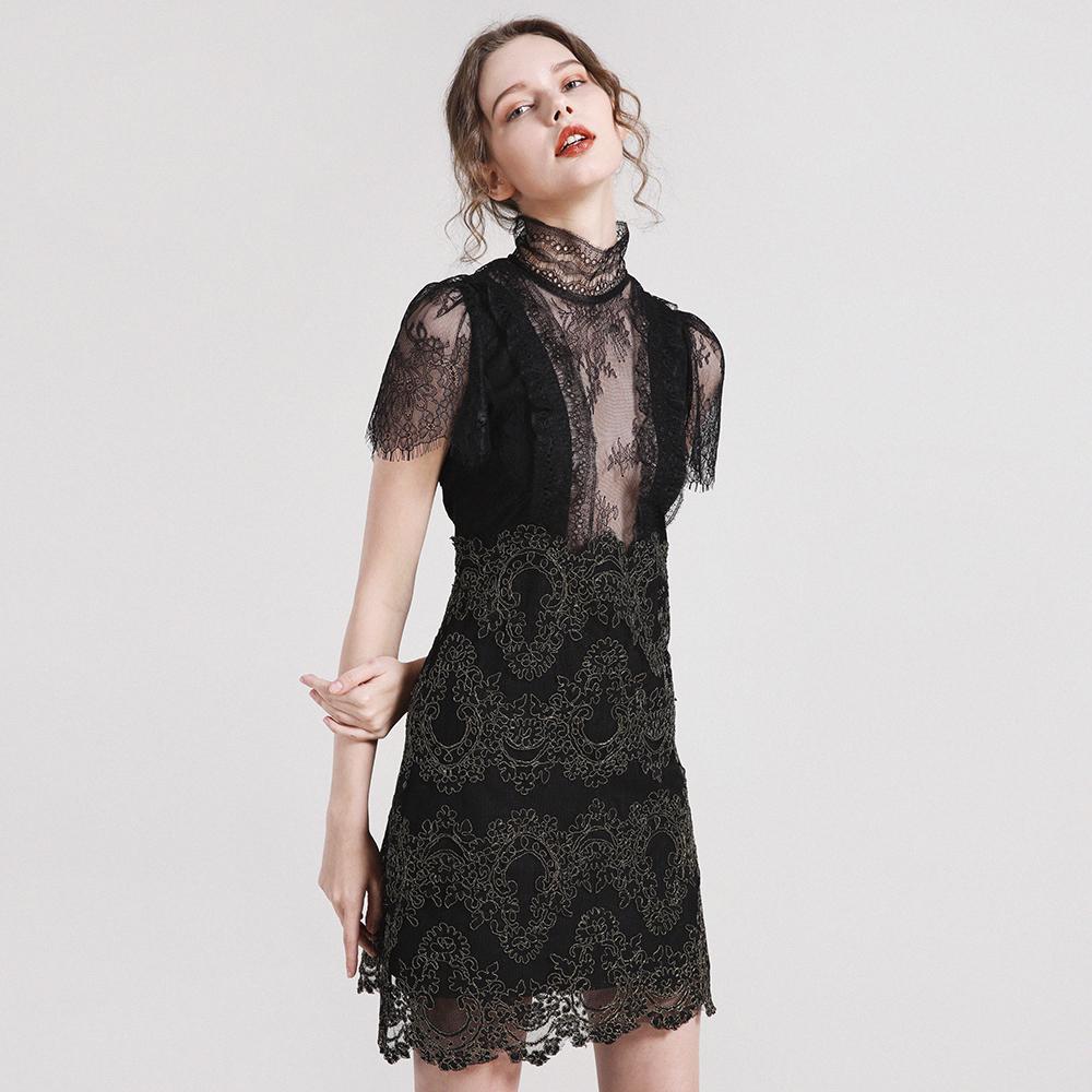 98d85df5f3703 Compre Vestidos Negros Para Mujer Estilo Elegante See Through Empalmado De  Cuello Alto Mangas Cortas Vestidos De Fiesta De Cintura Alta Ladies 2018  Nueva ...