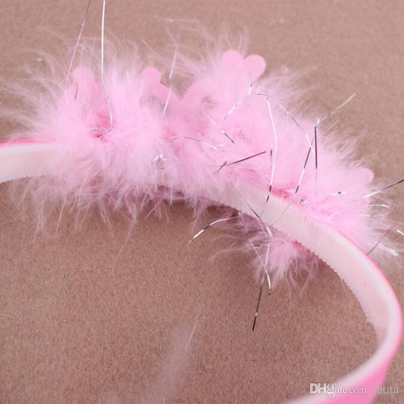 Sweet Pink Feather Crown Headband Children Girls Princess Hair Band Headwear Christmas Birthday Party Favor Gift