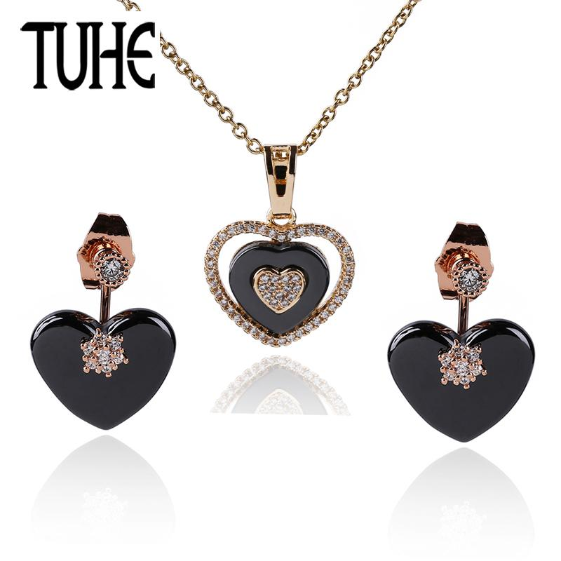14d56f215 2019 Vintage Rose Gold Heart Jewelry Set Black Ceramic Heart Drop Earrings  Crystal Pendant Necklace For Women Fashion Wedding Jewelry From Haoyunduo,  ...