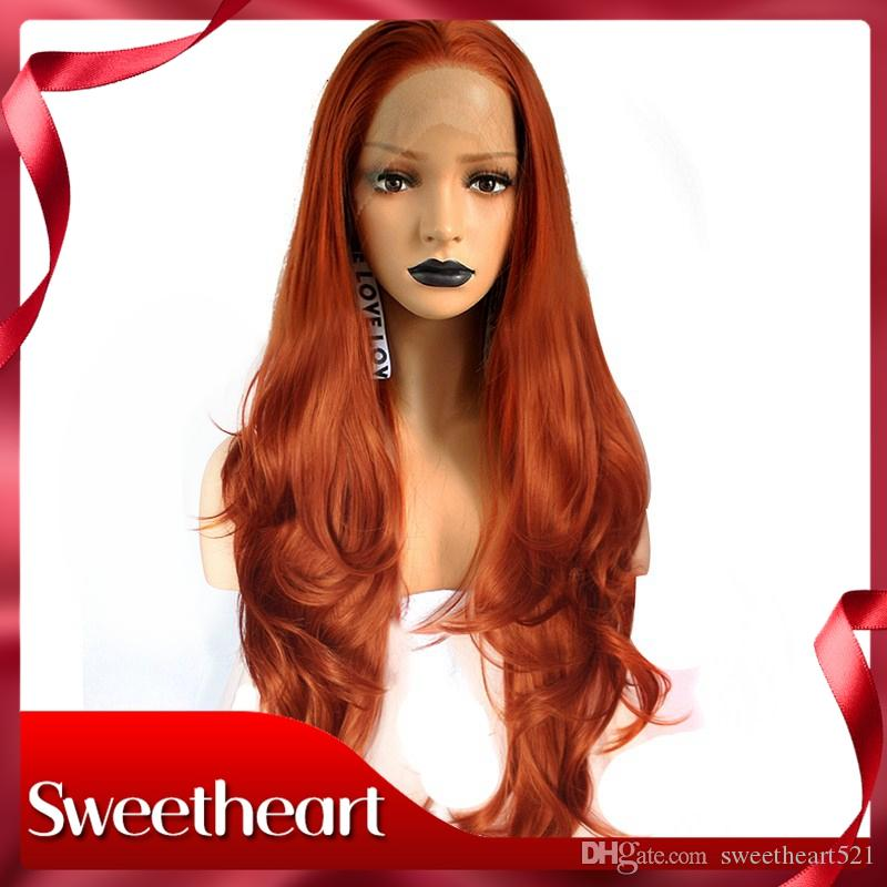 New Style High Temperature Fiber Hair Long Natural Wave Orange Copper Red Synthetic Lace Front Wig For Women Costume Cosplay Party Wig