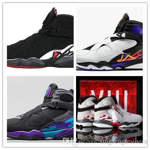 39330863c80 2018 Wholesale HOT 8 8s Chrome Aqua Black Purple Basketball Shoes Men 8s  Playoffs Three Peat Top Quality Release Sneakers Sneakers Online Shaq Shoes  From ...