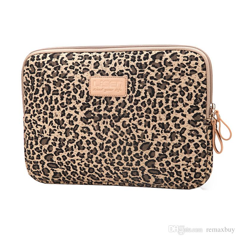 Leopard Laptop Sleeve 12-15.6 Inch waterproof shockproof Canvas handbag Bags Cover Protective Case for ipad mini/air/kindle LS-103
