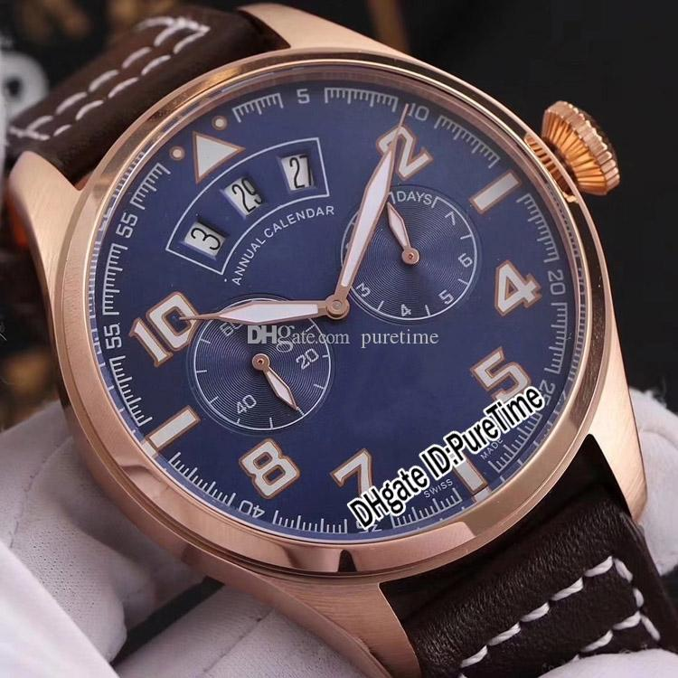c1980a699 New 46mm IW502708 Rose Gold Blue Dial Big Day Date Automatic Mens Watch  Brown Leather Strap Cheap Sports Watches High Quality IW B290b2 Waterproof  Watches ...