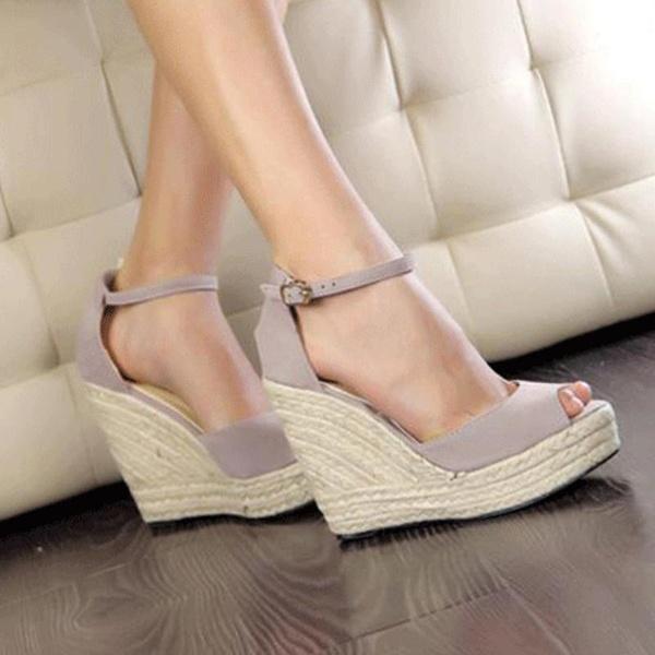 Elegant Sandals Women Wedges Shoes Fashion Platform High Heels Sandals  Women Open Toe Platform Wedges Straw Braid Velvet Sandals Ladies Shoes Red  Shoes From ... b24f5f0f2b46