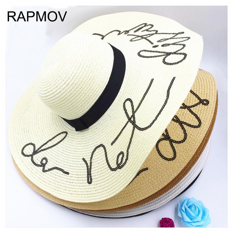 87748fe7fea 2017 Summer Straw Hat Do Not Disturb Wide Brim Floppy Foldable Sun Hats For  Women Beach Hat Ladies Chapeau Soleil Panama Femme Trucker Hats Boonie Hat  From ...
