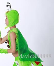 2018 Yeni stil çocuk Cosplay Mantis böcek Hayvan gerçekleştirmek Sequins giyim kız ve erkek Dans Yapışık giysiler uzun tarzı