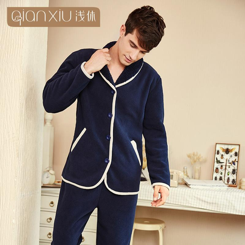 f2cbb6a721a2 2019 Men Lamb Cashmere Pajamas Set Home Clothing Winter Long Sleeve Lapel  Stitching Cuffs Men S Sleepwear Pyjamas Homme Nightclothes From Hoeasy