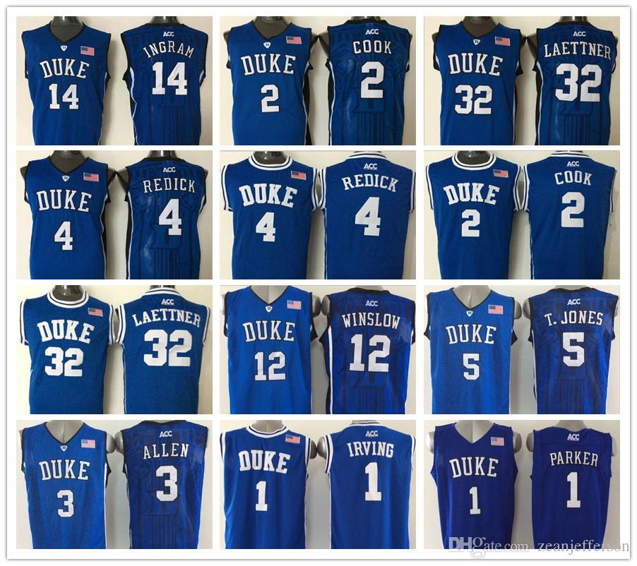 info for 1b239 b8d83 Hot sale mens 3 Grayson Allen 4 Redick 32 Christian Laettner 2 Quinn Cook 1  Kyrie Irving 1 Harry Giles Navy blue Basketball Jerseys