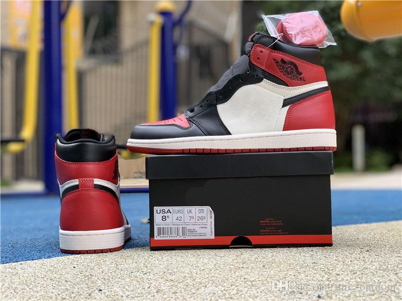 f5006f893ddfeb 2018 Release 1 Bred Toe Chicago Black Red Court Purple Basketball Shoes For  Men 1S Sports Sneakers Authentic With Box 555088-610 Man Basketball Shoes  ...