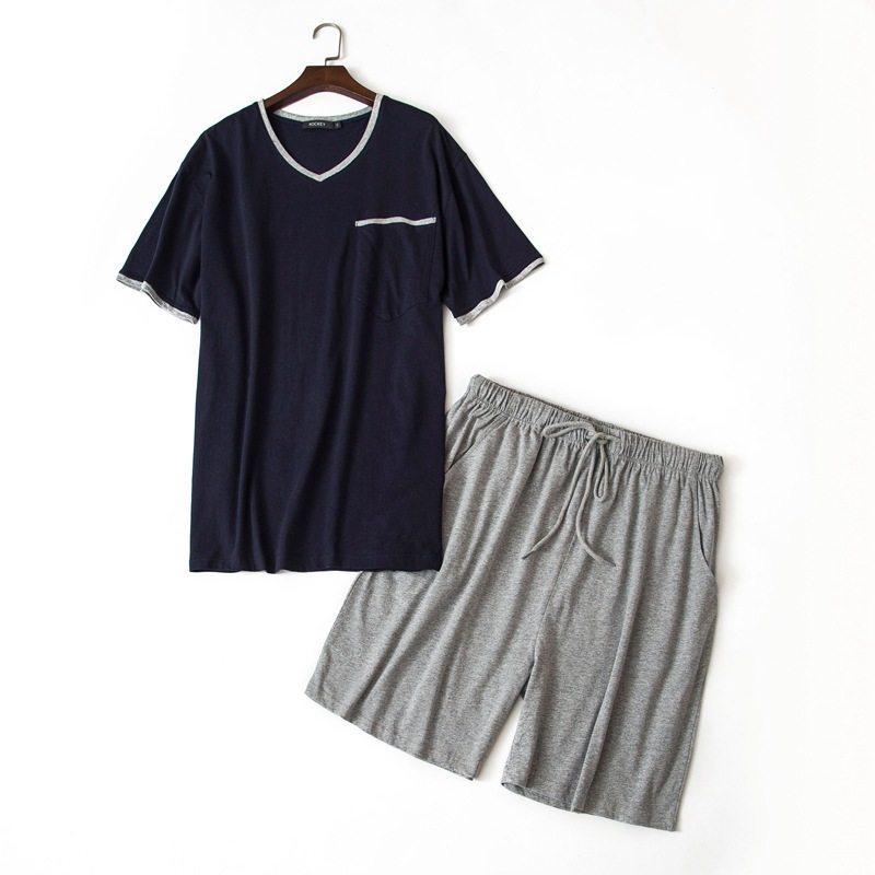 b3e27cb3dacd59 2018 verão plus size pijama de duas peças homens conjuntos de pijama  casuais 100% algodão pijamas terno masculino com decote em v colarinho t ...