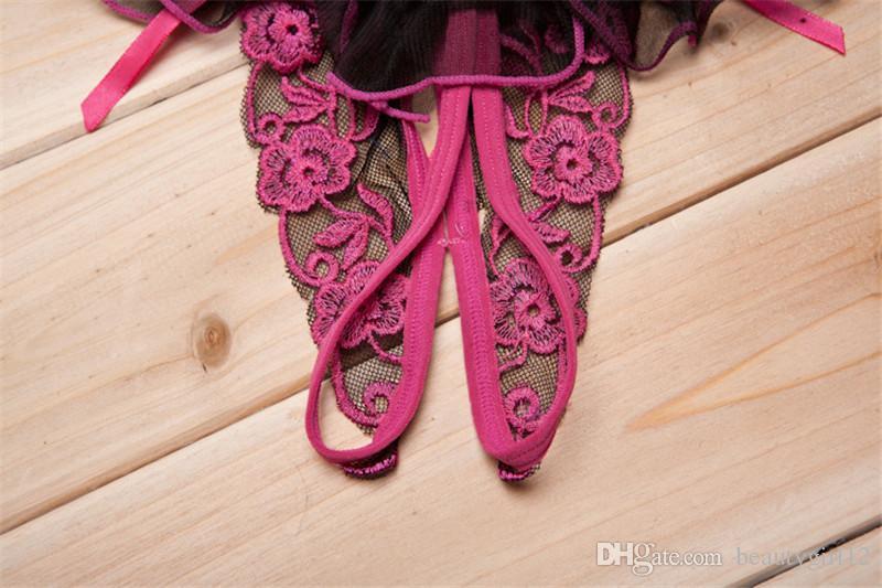 여성 섹시한 란제리 낮은 허리 레이스 끈 팬티 G String Crotchless Transparent Panties 섹시한 속옷 Culotte Femme