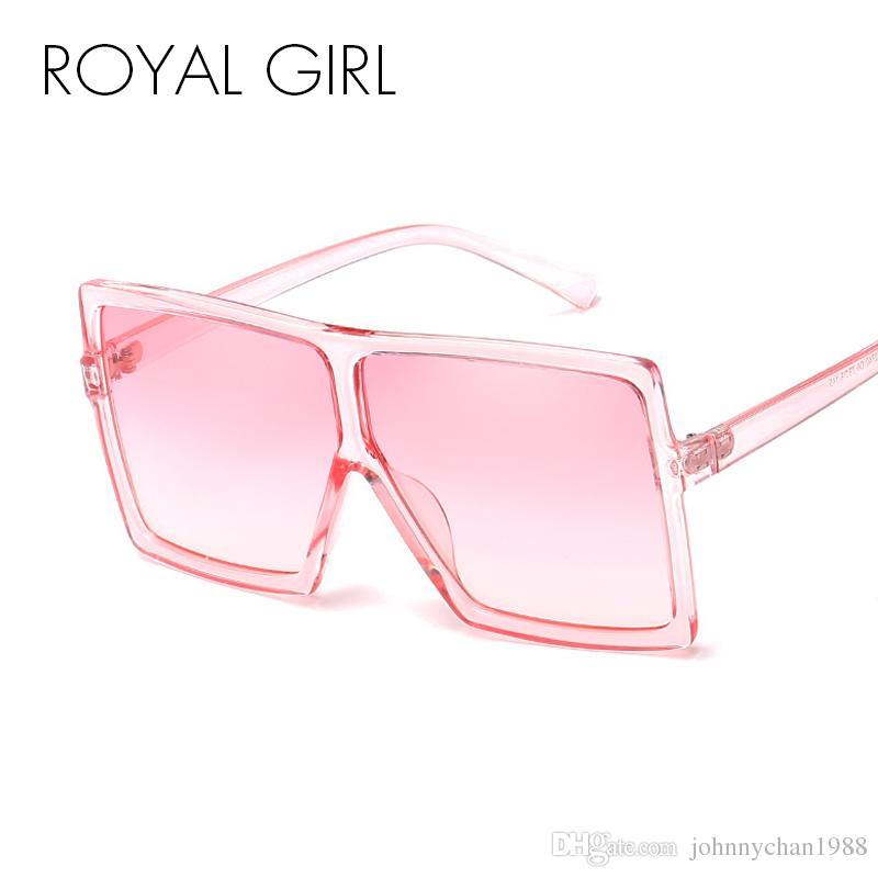 f7c8ed6fcfb27 Compre ROYAL GIRL Oversized Mulheres Óculos De Sol 2018 Mulheres Homens  Grande Quadrado De Topo Plana Transparente Quadro Óculos De Sol Oculos  Gafas Ss988 ...