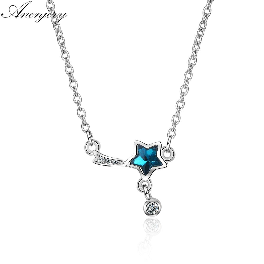 3e5eec930 2019 Anenjery Simple Fashion 925 Sterling Silver Blue Crystal Zircon Tassel  Necklace For Women Girl Birthday Gift S N260 From Chuancai, $22.86 |  DHgate.Com