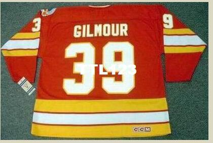 new styles fff9c 2499c Mens #39 DOUG GILMOUR Calgary Flames 1989 CCM Vintage Retro Away Hockey  Jersey or custom any name or number retro Jersey
