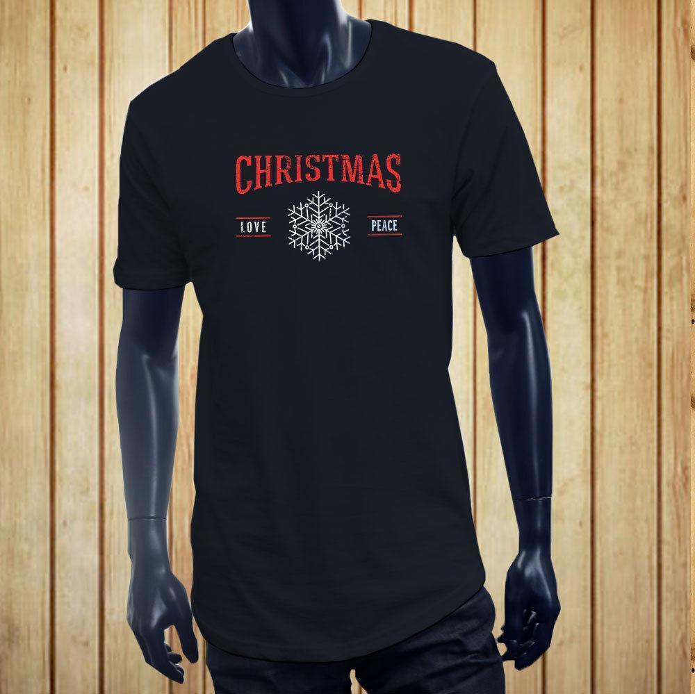 60641cf900e381 CHRISTMAS LOVE PEACE SNOWFLAKE HOLIDAY SNOW SANTA Men Navy Extended Long  TShirt T Shirts And Shirts On T Shirts From Peng02, $12.08| DHgate.Com