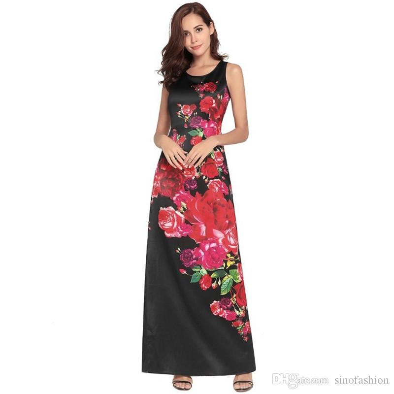 Women Maxi Dress Vest Floral Evening Dress Slim Sleeveless Casual Ladies  Black Dresses Plus Size Clothes