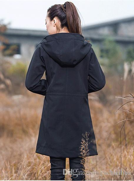 Femmes Sports de plein air Longues Vestes Gardez Au Chaud Autumn7Winter Coupe-Vent Imperméable Randonnée Dames / Filles Chaud Softshell UN En Peluche Taille