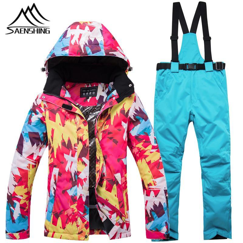 Compre Traje De Esquí Chaqueta Femenina Pantalones De Snowboard A Prueba De  Viento Súper Montaña Cálida Traje De Esquí De Invierno Trajes Masculinos De  ... b52861c82eb