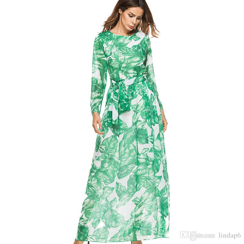 b93bfce6d Party Dress Banana Leaf Printed Big Round Neck Long Sleeve Skirt To  Cultivate One's Morality Elegant Temperament Noble Princess Dress