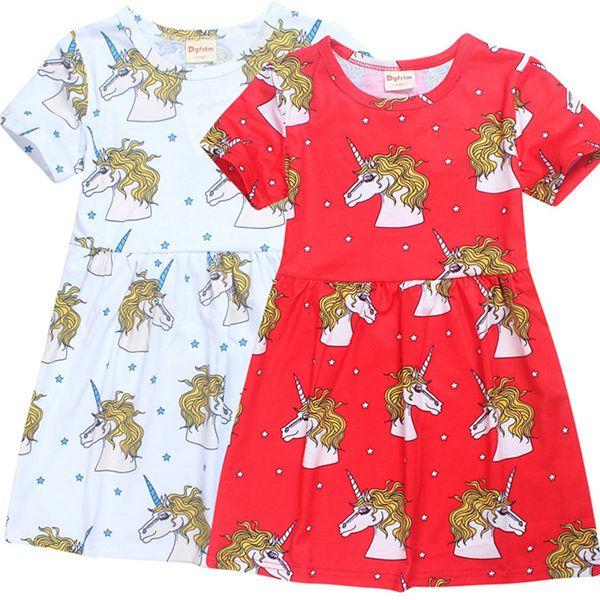 d5cd85fd1096 INS Unicorn Kids Girls Full Print Dresses Summer Autumn New Teenage ...