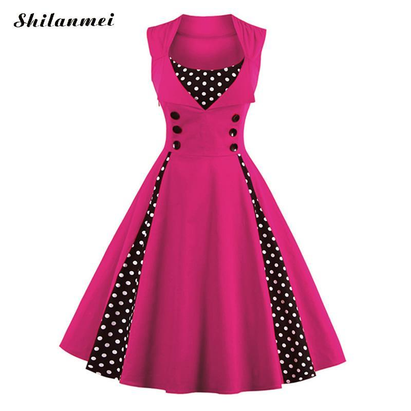 f7b01afad6c Plus Size Dresses For Women 4xl 5xl 6xl Retro 50s 60s Vintage Dress Polka  Dot Patchwork Summer Rockabilly Swing Party Pink Dress Pink Dress Sundress  From ...