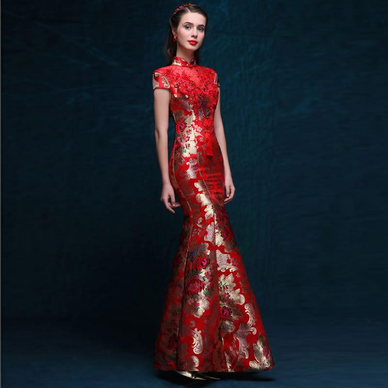 2019 Red Satin Chinese Dress Bride Wedding Qipao Long Modern Cheongsam  Oriental Evening Gown Women Traditional Dresses Quality Qi Pao From  Hongyeli 50f87657f4fd