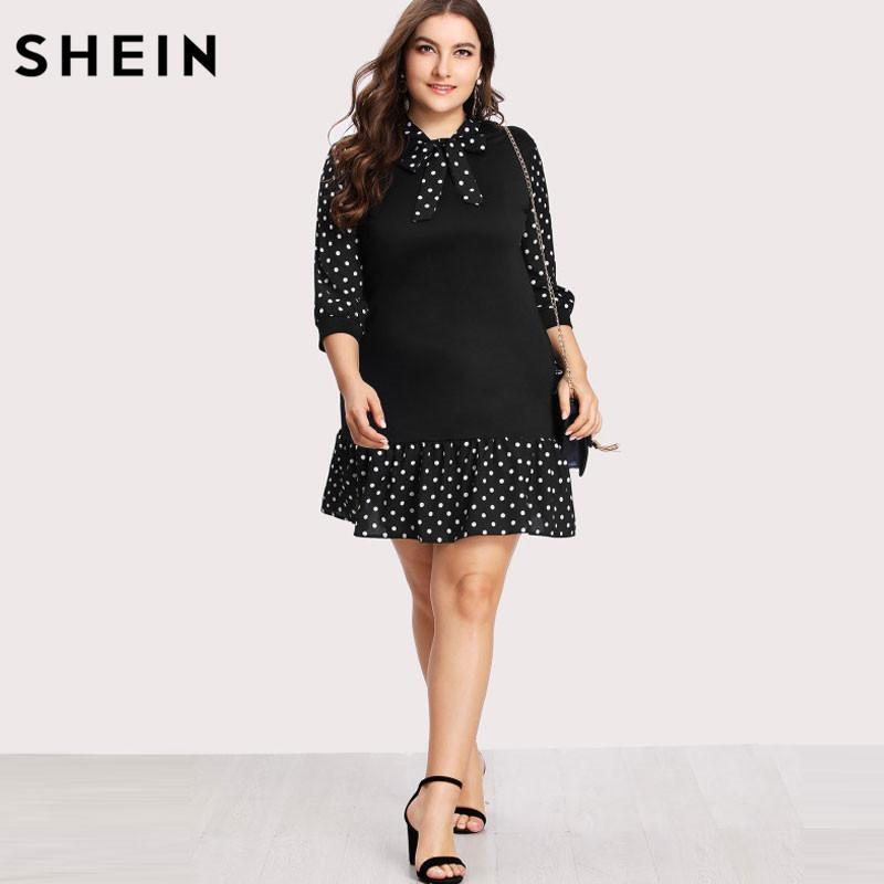3ccba27ab7 2019 SHEIN Summer Black Dress Ruffle Plus Size Tie Neck Pep Hem Polka Dot  Dress Casual Stand Collar Drop Waist Short From Edmund02, $32.03 |  DHgate.Com