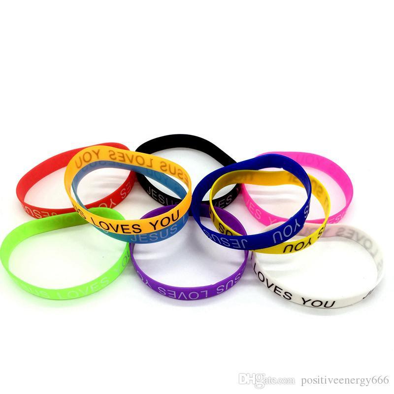 Эластичный силиконовый браслет резиновые браслеты для мужчин женские ювелирные изделия модные аксессуары добрый Иисус любит вас качество подарки