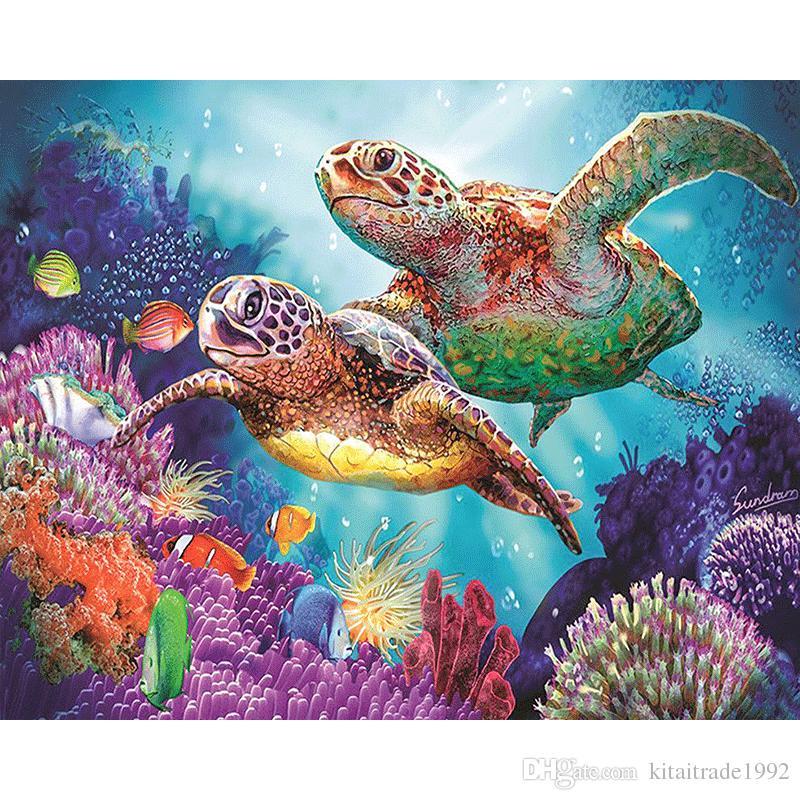 Satın Al Sıcak Elmas Boyama Deniz Kaplumbağası 5d Diy çapraz Dikiş