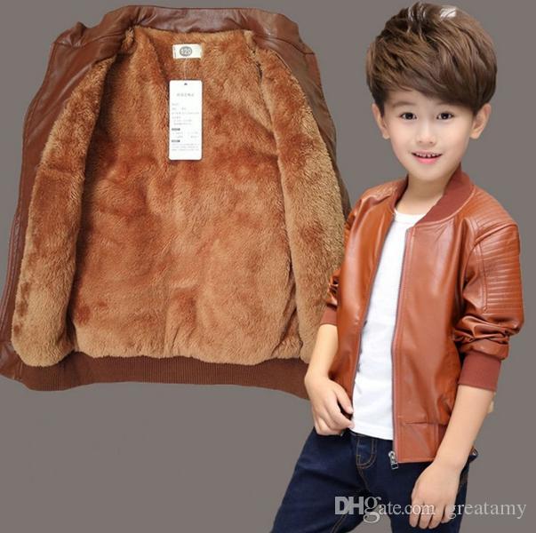 Crianças Meninos primavera casacos de inverno moda Crianças de couro PU gola redonda outercoats crianças casaco de couro com zíper meninos lazer casaco crianças roupas