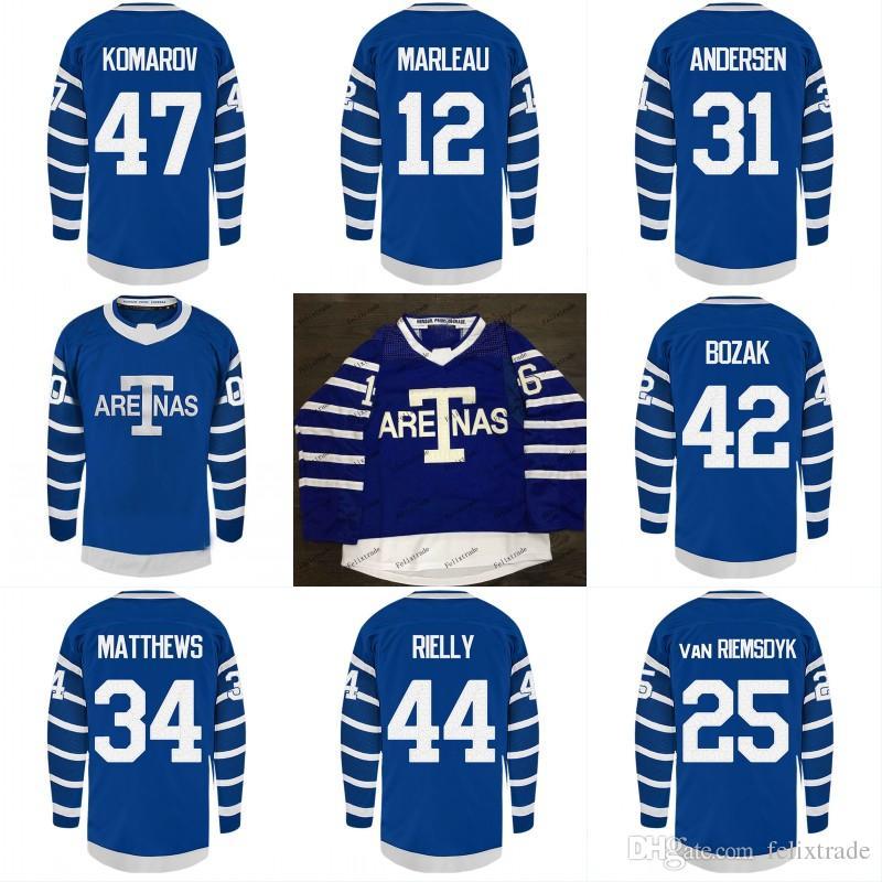 pretty nice af539 b10da TORONTO ARENAS Maple Leafs Jerseys 47 Leo Komarov 12 Patrick Marleau 44  Morgan Rielly 34 Auston Matthews Custom Stiched Hockey Jersey Full