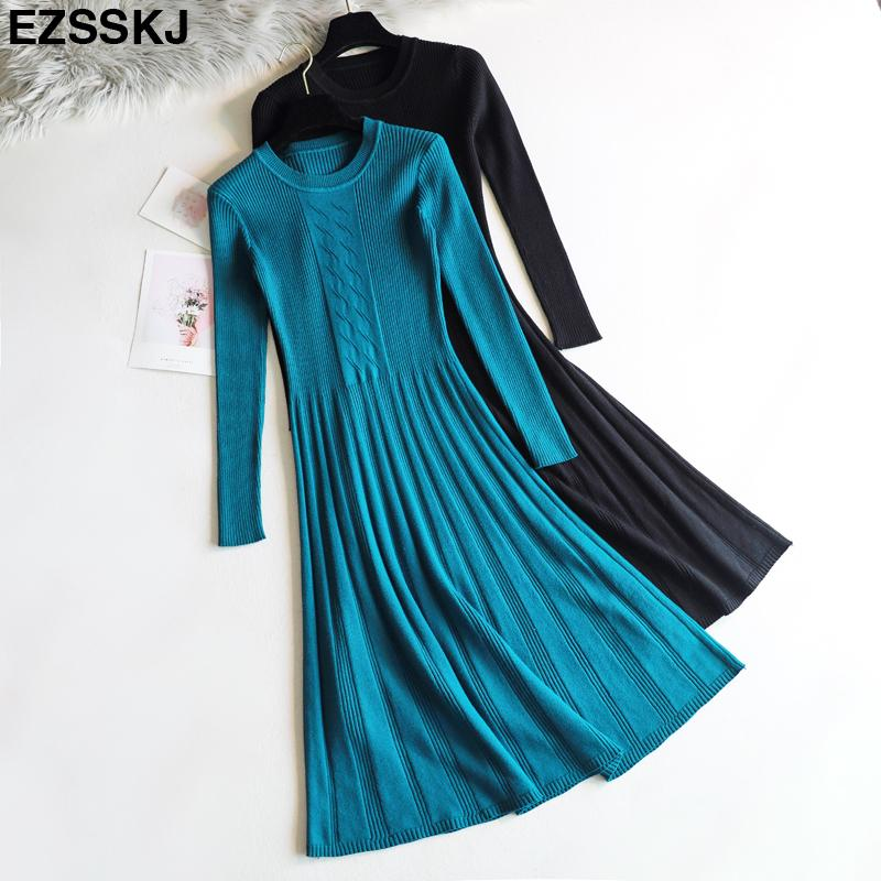 b878b85eba1 2018 Elegant Autumn Winter Long Sweater Dress Women Long Sleeve OL ...