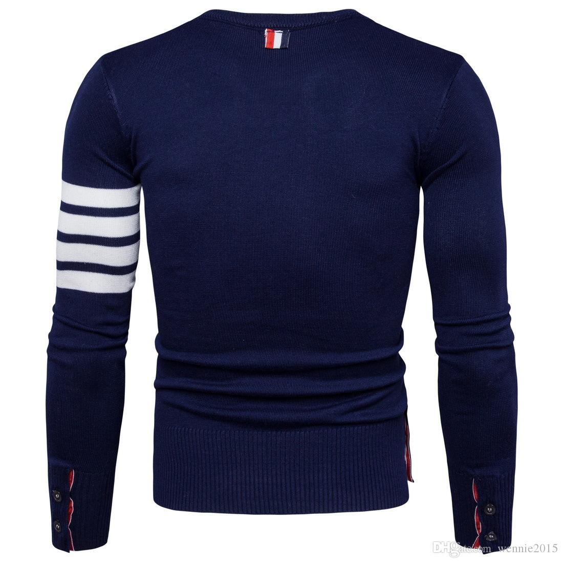 wholesale Autumn new men round neck sweater cuff fight color men sweater navy blue gray color