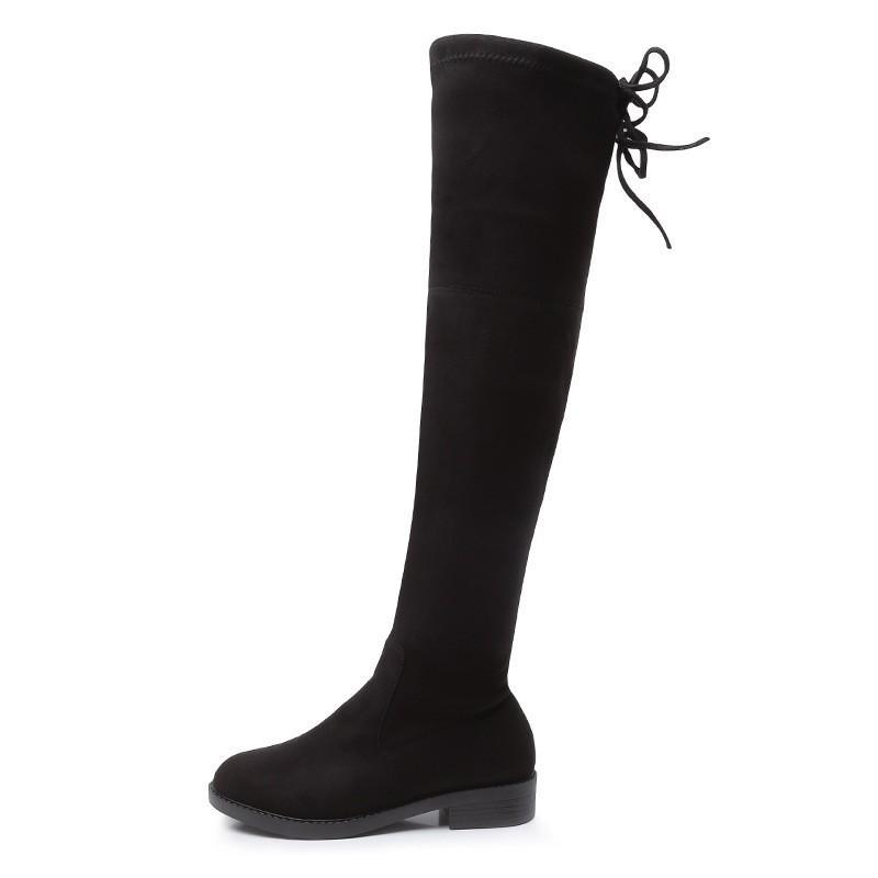 Elásticas Tubo Largo Zapatos Nuevas Y Sobre Rodilla Mujeres De Invierno Mujer Botas La Felpa Borruice Cordones Otoño Para Con Plano 29WHIEDeY