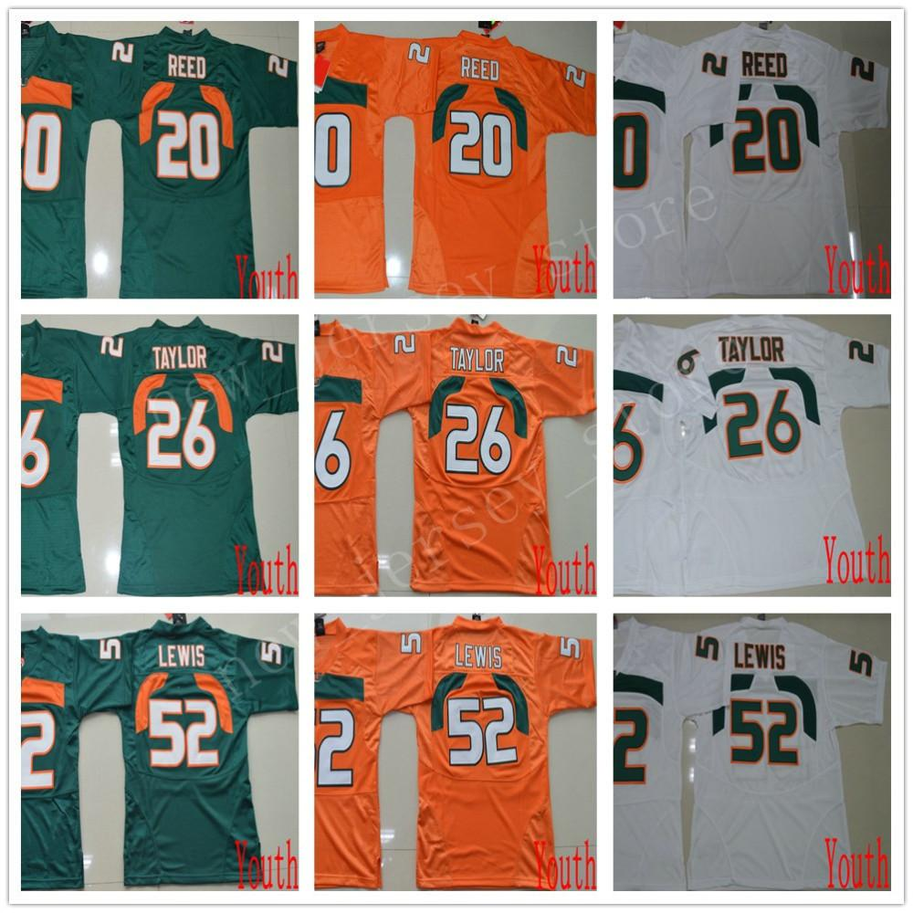 NCAA Miami Hurricanes 26 Sean Taylor Jerseys Youth Kids Stitched College Football 20 Reed Jersey ACC Orange Green White 52 Ray Lewis Jerseys