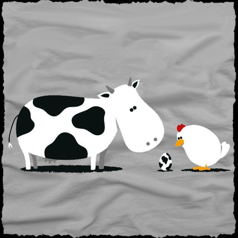 2500a3361 funny CHICKEN x COW Love Story Men's T-SHIRT fun egg fun farm animal tee  S-XL Funny free shipping Unisex Casual tshirt gift