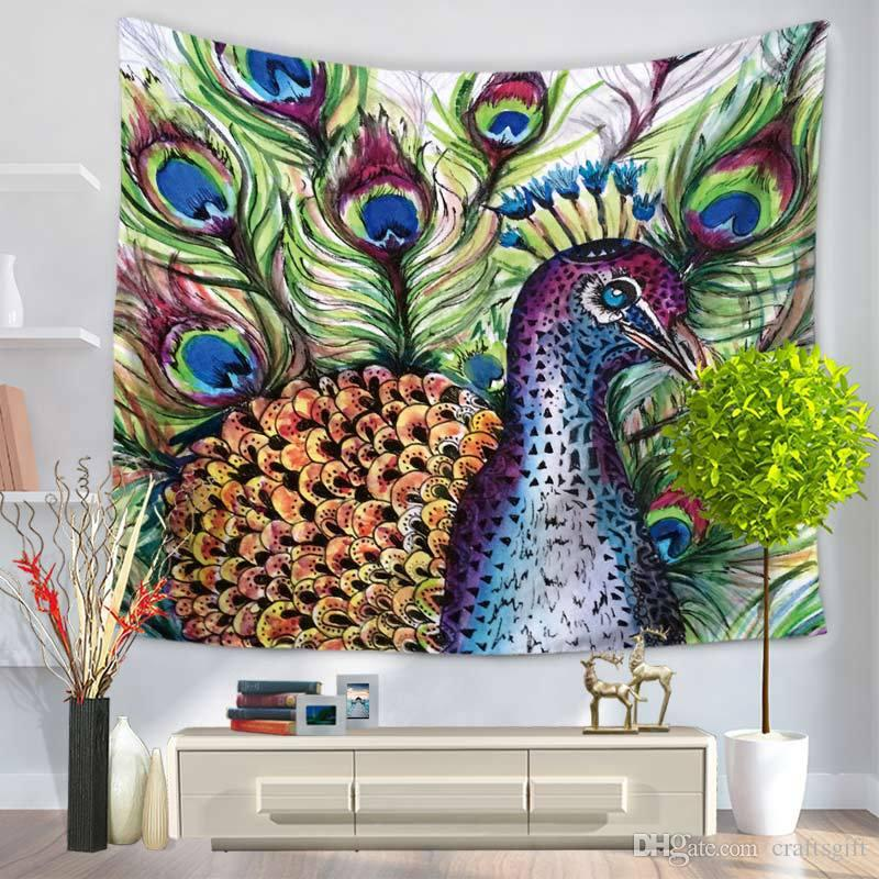150*130cm Tapestries Hand-painted Peacock Patttern Tapestry Polyester Wall Carpet Living Room Throw Yoga Mat Towel Beach Shawl