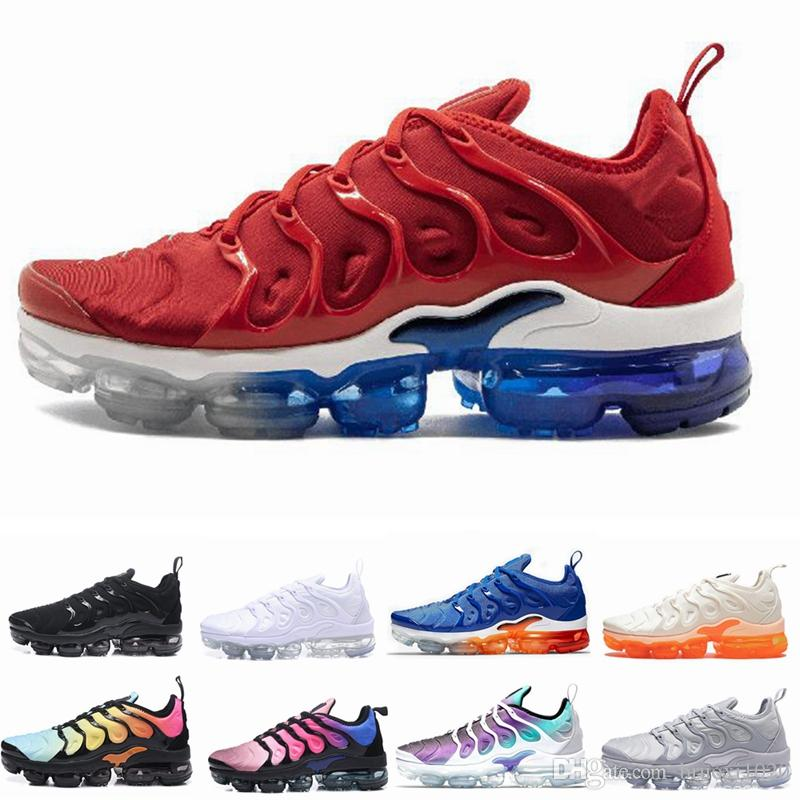 new style 61f87 80ec3 Acheter 2019 TN Plus Olive Hommes Chaussures De Course Sport Sneakers Hommes  Courent En Métallique Blanc Coloris Argent Pour Pack De Chaussures Homme  Triple ...